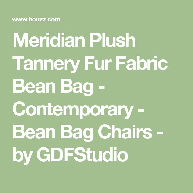 Meridian Plush Tannery Fur Fabric Bean Bag - Contemporary - Bean Bag Chairs - by GDFStudio