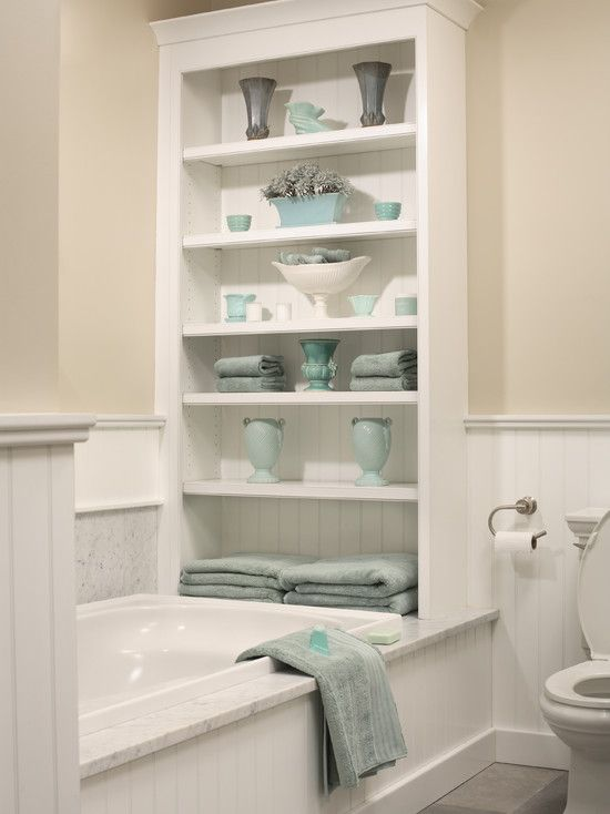 Bathroom storage idea... with a little space above for the faucet but then lots of storage!