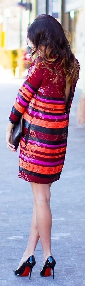 #spring #street #style #stripe #outfitideas |Stripe  Sequin Dress |Hello Fashion                                                                             Source