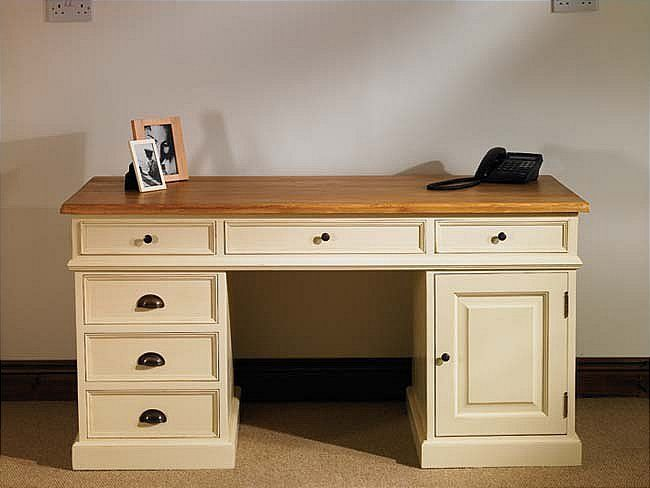 Mottisfont Painted Pedestal Desk (Cream, Pine, Painted Pine Pedestal Desk - Mottisfont MDAB01 A large and traditional pedestal desk in waxed Pine with 6 drawers and a cupboard. This piece of furniture splits into 3 with the desk section lifting aw http://www.MightGet.com/january-2017-13/unbranded-mottisfont-painted-pedestal-desk-cream-pine-.asp