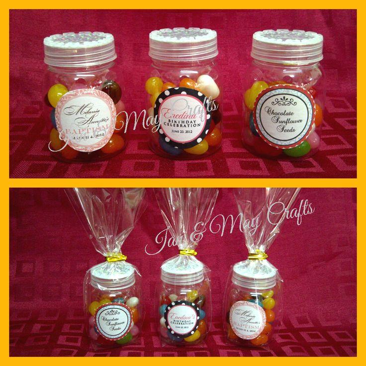 Mini Candy Jars  https://www.facebook.com/media/set/?set=a.295420057271685.1073741825.125436300936729&type=3