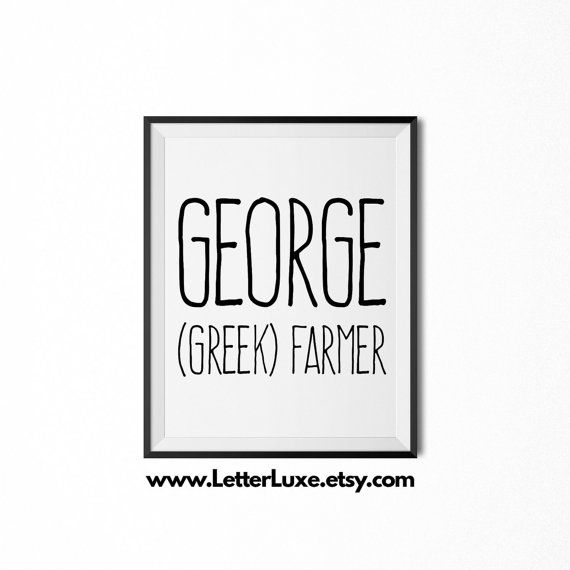 55 best beautiful names images on pinterest character names george name meaning art printable baby shower gift nursery printable art digital print nursery decor typography wall decor negle Choice Image