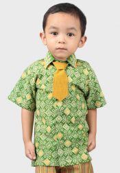 Van Batik  Van Batik Set Kemeja dan Dasi Hijau Kuning