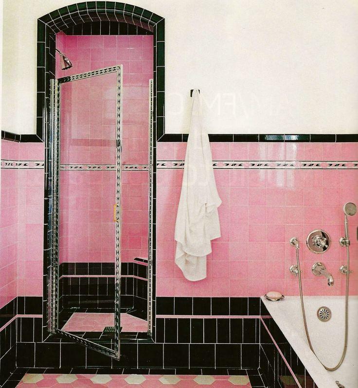 Love this beautiful pink and black tile i love vintage pinterest black tiles and art deco - Deco badkamer vintage ...