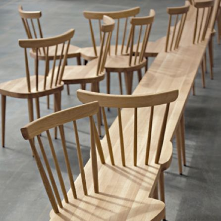 """""""Stuhlockerbank. Originally, Yvonne Fehling and Jennie Peiz created for the Arp Museum of Remagen, Germany, a long bench to which twelve seats were added somewhat randomly"""". No idea what this costs, but it cannot be cheap as """"There are only eight copies of these items."""""""