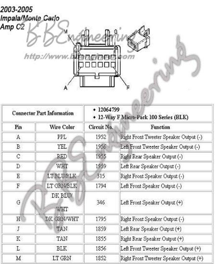 ford factory amplifier wiring diagram  impala 2005 impala
