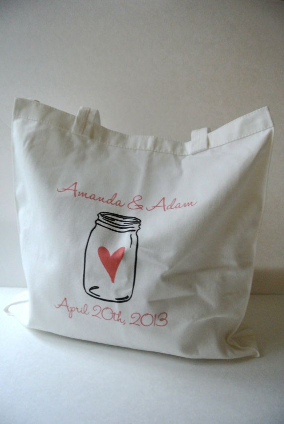 Custom Mason Jar Wedding Tote Bag  by yourethatgirldesigns on Etsy, $24.00