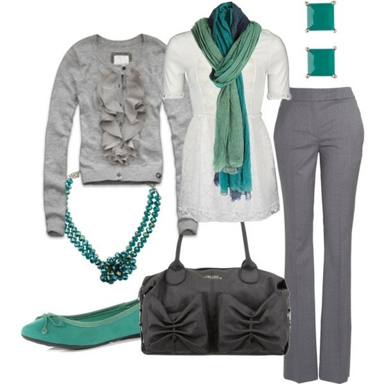 business casual: Cardigans, Colors Combos, Work Clothing, Work Wear, Grey, Scarfs, Work Outfits, Business Casual, Workwear