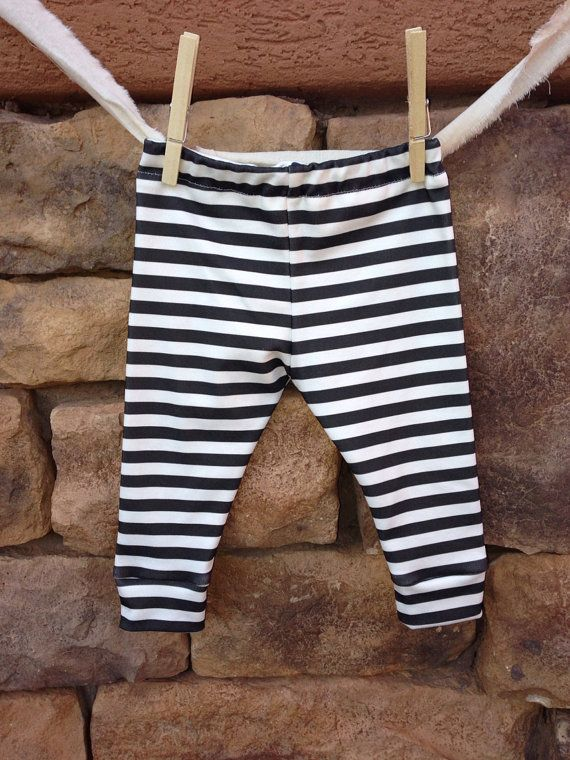 Black and white stripe Baby leggings, infant leggings, organic cotton leggings, printed leggings on Etsy, $25.00