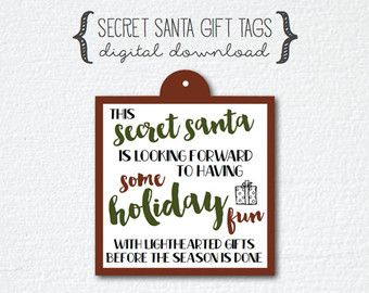 Secret Santa Gift Tag Poem JPG File by kate42876 on Etsy