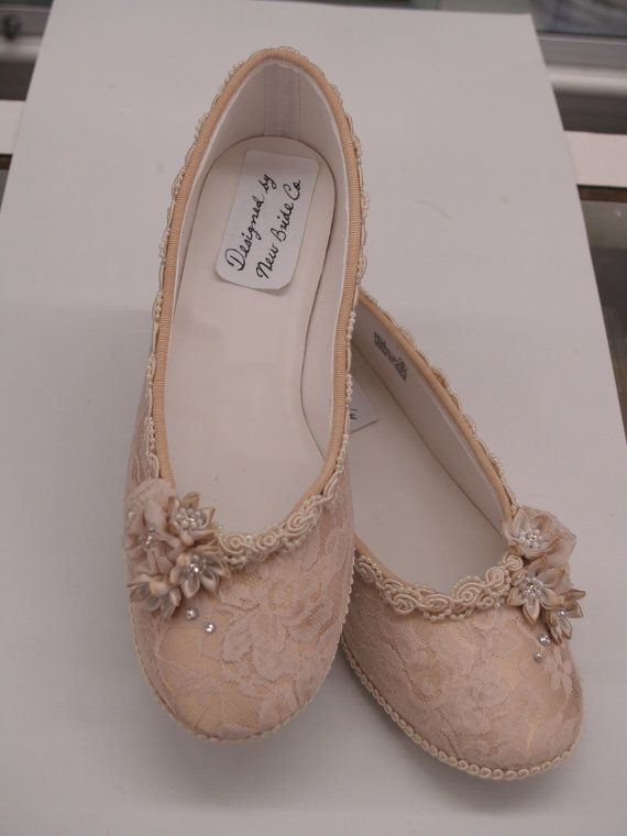 Champagne Wedding Flats Shoes Champagne Lace by NewBrideCo on Etsy, $128.00. I could make these!