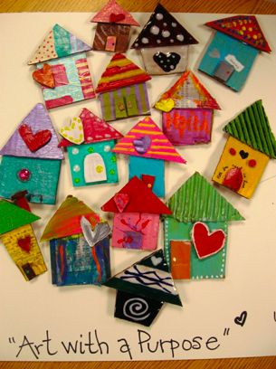 Art houses - make w/texture... fun slab clay or cardboard paper craft  Would make adorable Pins for a Mother's Day Tea - Home is where the heart is :)