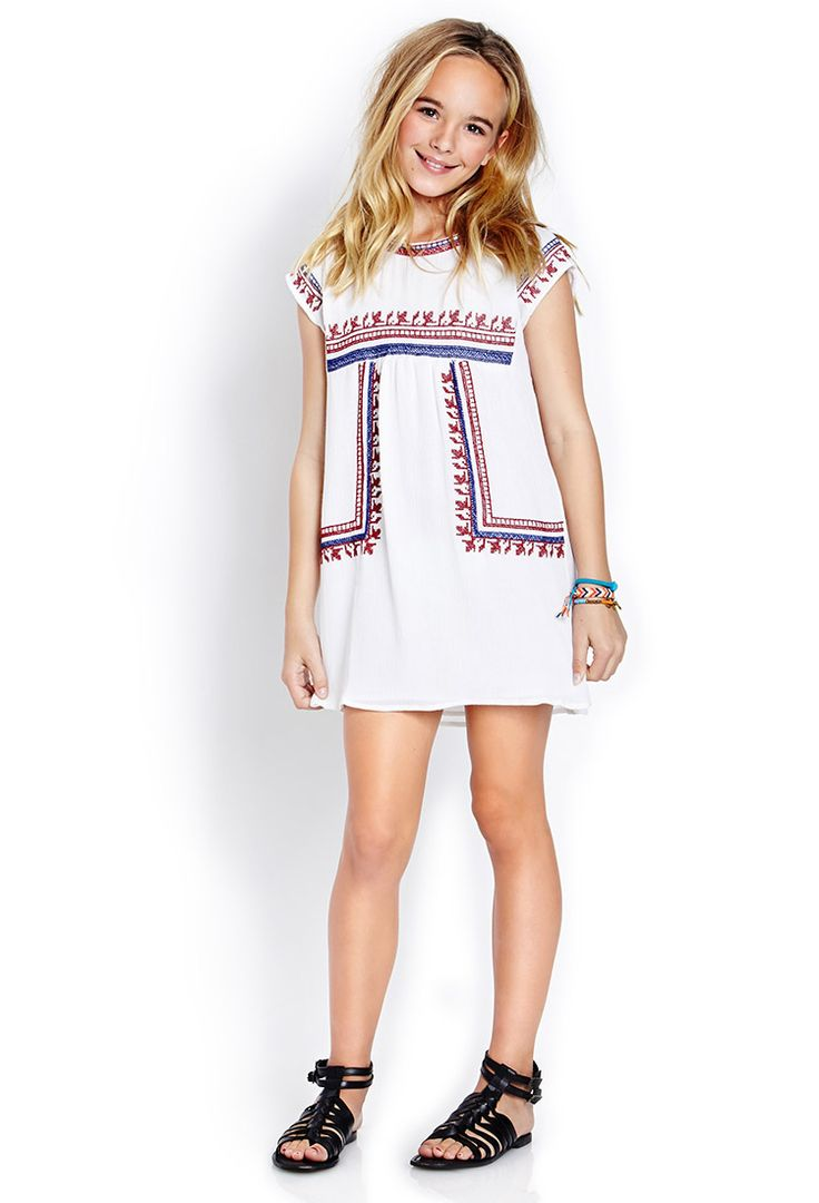 Embroidered Peasant Dress Kids Forever21 Girls