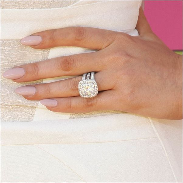 Khloe's ring – the giant 12.5-carat radiant cut diamond engagement ring is one of Hollywood's biggest and most expensive e-ring to date.