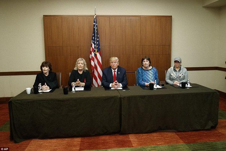 (L-R) Kathleen Willey, Juanita Broaddrick, Donald Trump, Kathy Shelton and Paula Jones hel...