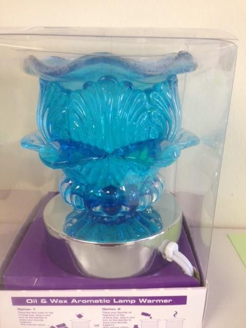 blue flower electric decorative touch lamp, aromatic oil burner,scented oil warmer, wax melter