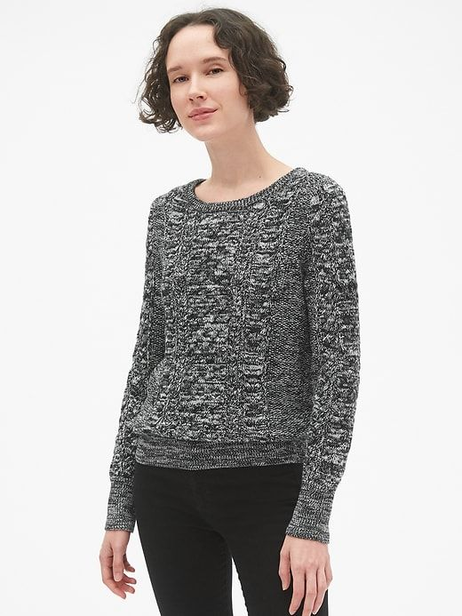 96b28500c Gap Women s Cable-Knit Crewneck Pullover Sweater Marled Black in ...