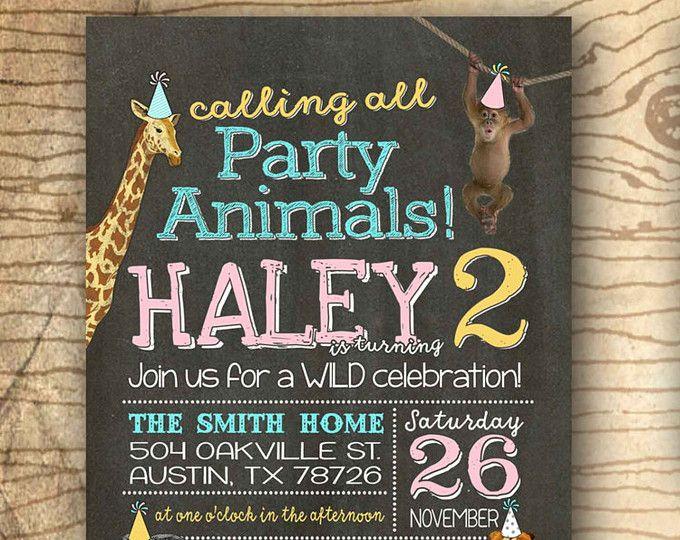 1er cumpleaños fiesta invitación - grupo Safari invitación - fiesta animales cumpleaños partido invita - animales salvajes de zoológico - pizarra imprimir