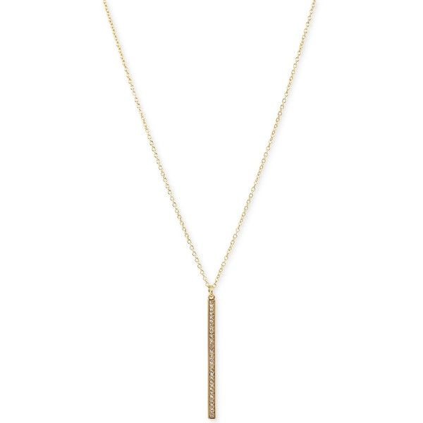 Touch of Silver Long Length Crystal Bar Pendant Necklace in 14k... ($26) ❤ liked on Polyvore featuring jewelry, necklaces, yellow gold, chain necklace, silver chain necklace, crystal necklace, silver necklace and silver pendant necklace