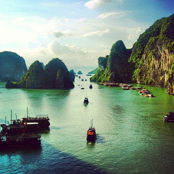Ha Long Bay on a sunny day.