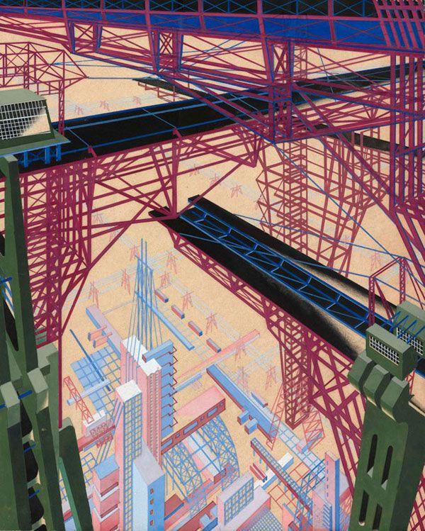 """Яков Чернихов. """"Архитектурная фантазия. Вид с решетчатых мостиков на промышленный квартал"""" 1929-1933. Гуашь, по наброску карандашом, на желтой бумаге."""