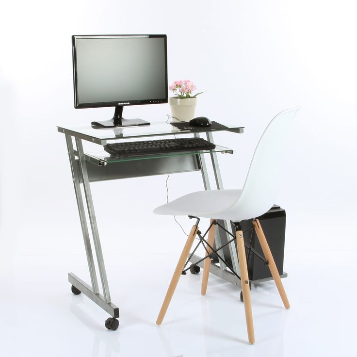 Vecelo Glass Computer Workstation Desk with Keyboard Tray,Office Computer Desk, Beige Off-White, Size Small