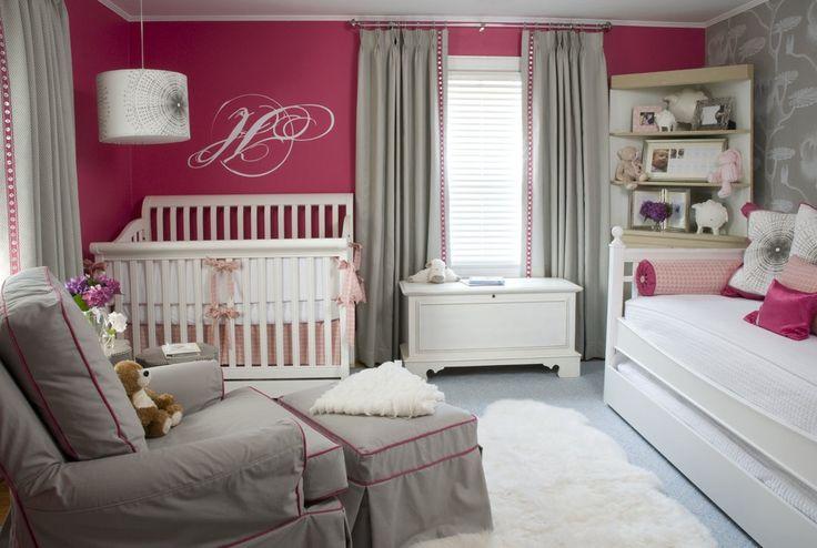 Love this nursery!: Grey Nurseries, Colors Schemes, Baby Girls, Pink Wall, Baby Rooms, Girls Nurseries, Girls Rooms, Accent Wall, Gray Nurseries