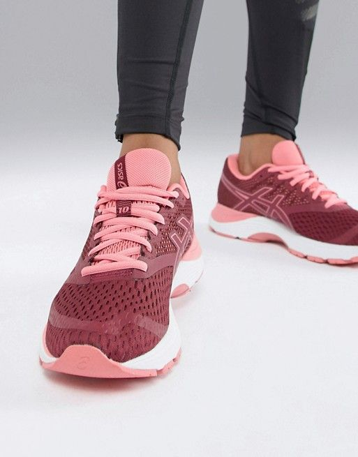 Asics Running Gel Pulse 10 Trainers In Burgundy  7965841b5f252