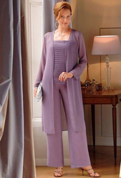2015 Nueva Moda Sexy Gasa Plisada Madre de la Novia/Novio Trajes Pantalón/Vestidos Con la Chaqueta Por Encargo Vestido De Madrina