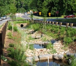 A new solution DEP is utilizing to reduce stormwater pollution and restore streambanks is called regenerative step pools.  In an eroded channel where stormwater frequently flows, a regenerative step pool allows water to be absorbed into the ground, while the pollutants are taken out of the water by sand and mulch. Pictured: regenerative step pools after the plantings and redesigns....