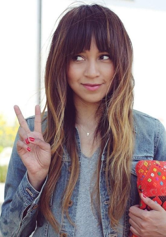 long #ombre hair with #bangs
