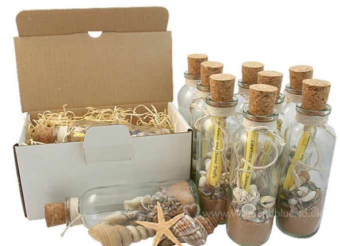 beach wedding invitations in a bottle or party favor with a little love poem/song lyrics inside