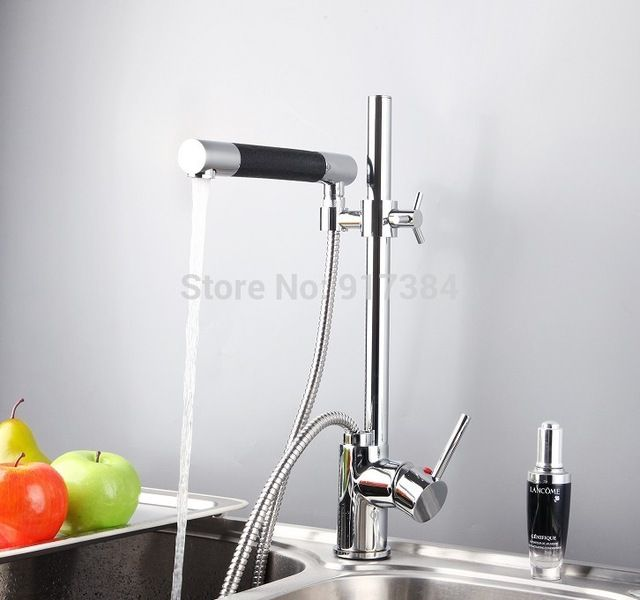 Pull Out Kitchen Faucet Polished Chrome Deck Mount One Hole Handle Mixer Tap Taps