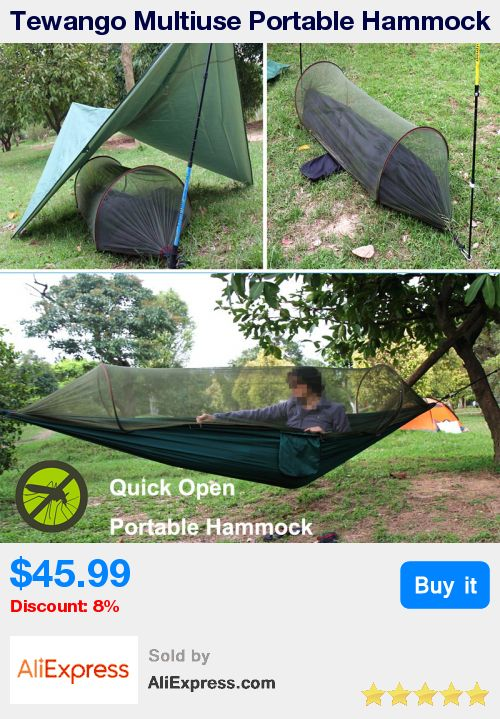 Tewango Multiuse Portable Hammock Camping Survivor Hammock with Mosquito Net Stuff Sack unnel Shape Swing Bed Tent Use * Pub Date: 12:54 Nov 18 2017
