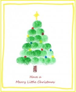 really cute Christmas thumbprint cards trees