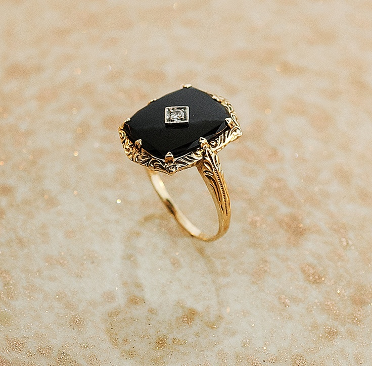 antique 14k yellow gold black onyx and ring pink