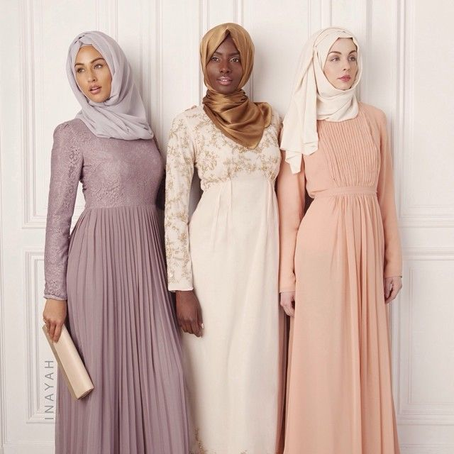 Coming Soon - Mauve lace dress + Light grey soft georgette hijab Peach pleated dress + , gold pure silk hijab Pale blue pleated dress +cream soft touch hijab. www.inayahcollection.com