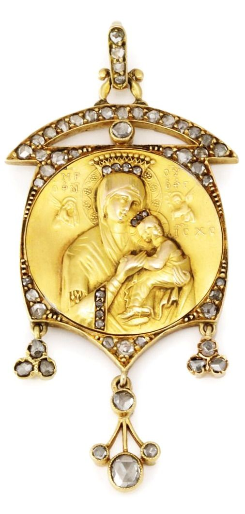 A RUSSIAN JEWELED GOLD PENDANT OF THE MOTHER OF GOD OF THE PASSION, CIRCA 1900 the pendant centered with a jeweled image of the Mother of God of the Passion, with an arched frame and suspended diamonds, 56 standard