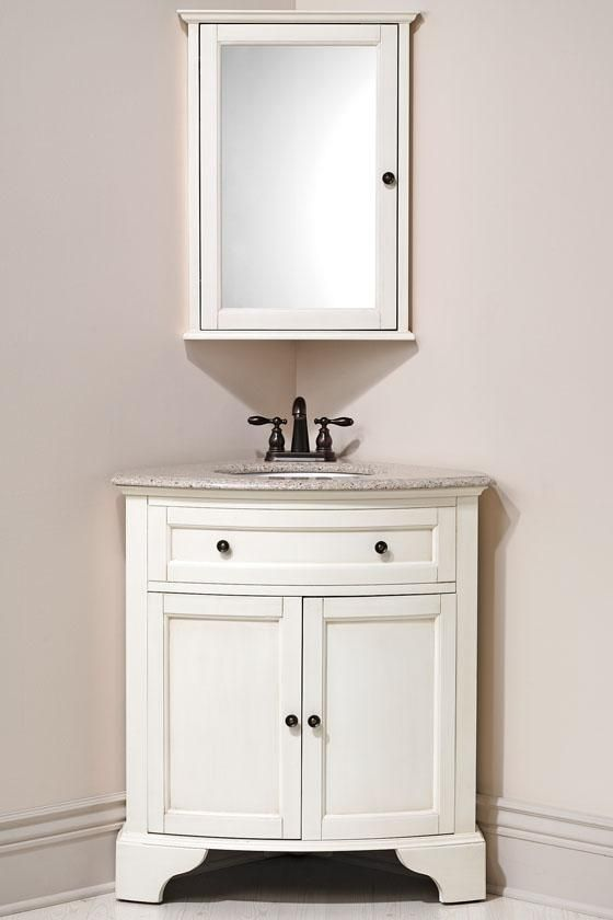 corner vanity and matching corner mirror for downstairs bathroom hamilton in distressed white - Mirrored Bathroom Vanity