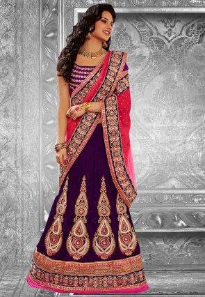 Purple & Pink Embroidered Velvet Party Wear Lehenga Saree