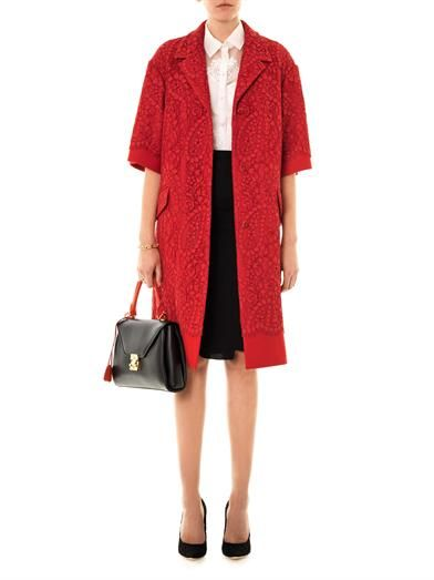 Dolce & Gabbana lace & wool A-line coat | Nina Ricci wool panel skirt | Maison Martin Margiela hexagonal shape ring | Mark Cross 'Scottie' medium leather tote