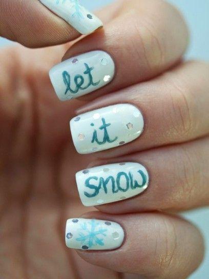 Let it snow nail art con scritta