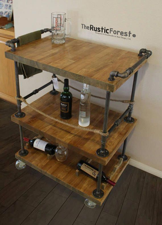 Rustic Pipe Bar Cart Wood Unique Bars Whiskey Wine Kitchen Island Rollaway Furniture In 2018