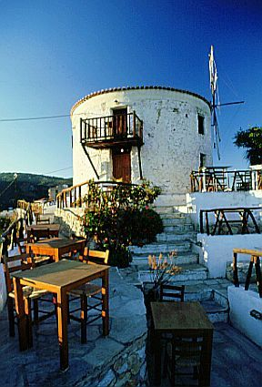 Windmill restaurant, Skiathos Town. We sat on the little balcony for a romantic dinner on our honeymoon!
