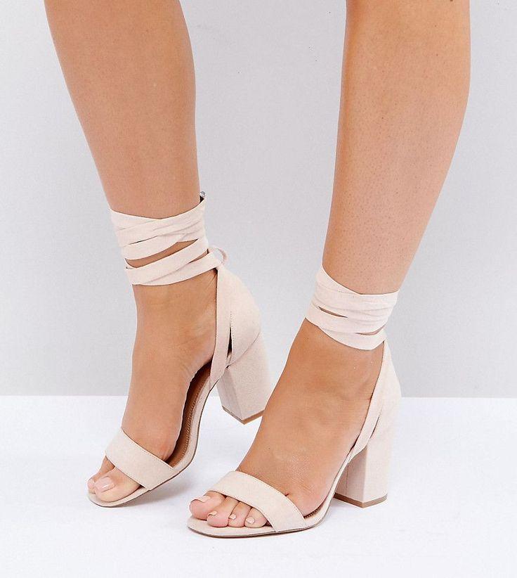 ASOS HOWLING Wide Fit Tie Leg Heeled Sandals - Beige