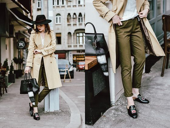 Get this look: http://lb.nu/look/8674113  More looks by Andreea Birsan: http://lb.nu/andreeabirsan  Items in this look:  Khaki Jogger Pants, Floral Embroidered Mules, Furla Black Leather Tote Bag, Sleeveless Shirt, Trench Coat, Black Fedora Hat, Gucci Belt   #casual #minimal #street #andreeabirsan #couturezilla #bucharest #buchareststreetstyle #andreeabirsanstreetstyle #romanianblog