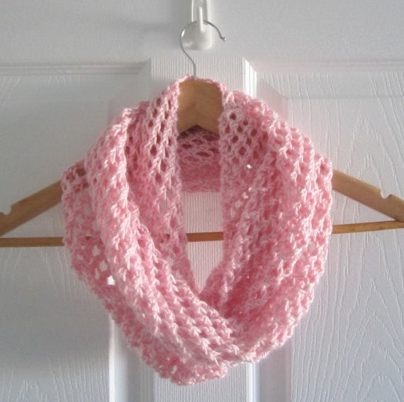 A soft infinity scarf in a pale pink. Light & skinny -- perfect for chilly spring or summer evenings! www.itsCOWLdoutside.etsy.com  #pink  #handknit  #summer