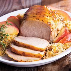 Brown Sugar-Mustard Pork Roast with Sauerkraut: Try adding brown sugar and Giant Eagle Dijon mustard to make a juicy pork roast with sauerkraut. Use one cored and thinly sliced apple of your choice to the roasting pan along with the sauerkraut.