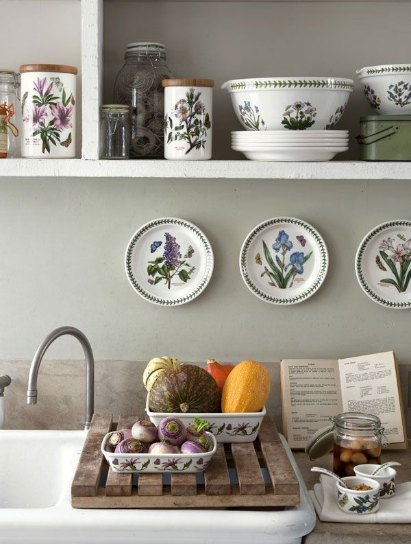 portmeirion botanic garden dishes in a white and blue kitchen