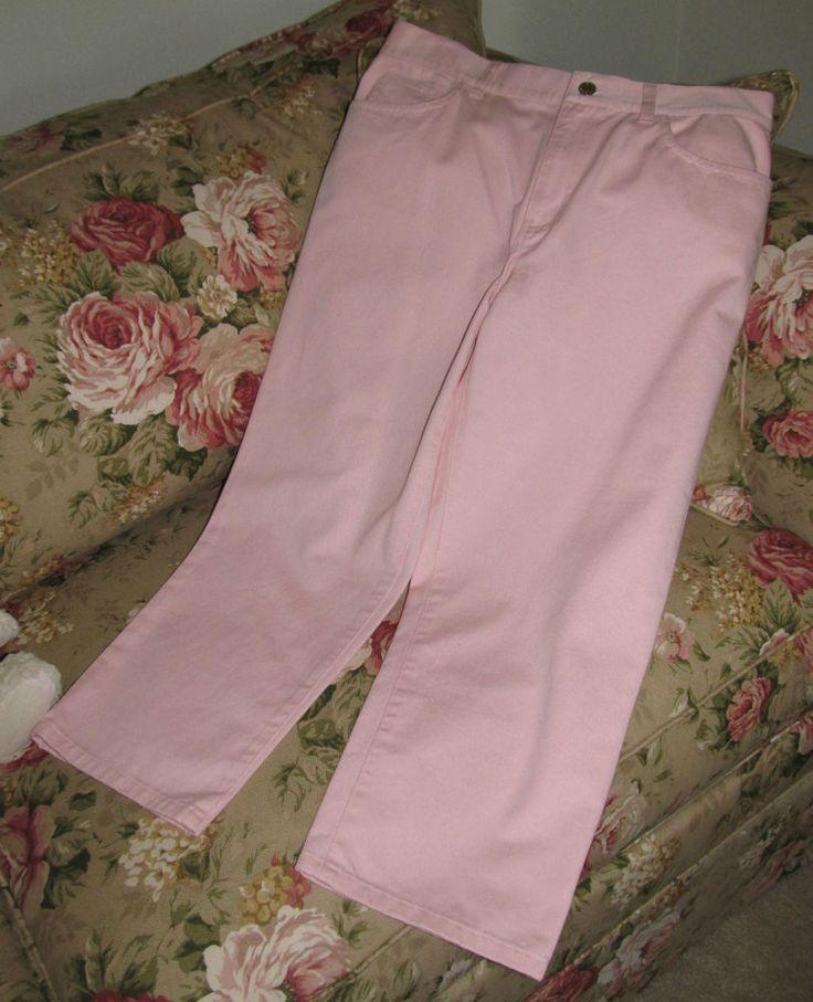 Womens LAUREN RALPH LAUREN Pink Cotton Jeans Cropped Capri Pants ~ Sz 6 ~ NWOT #LaurenRalphLauren #CaprisCropped
